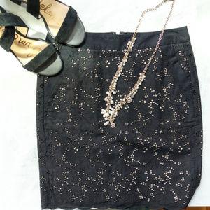 Loft Scalloped Black Pencil Skirt with Pockets NWT
